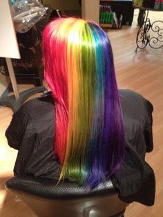 Rainbow hair color, gay pride colors, fun color