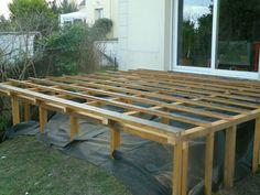 Double structure pour terrasse en hauteur