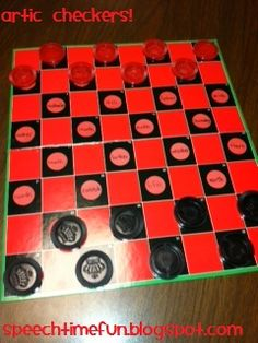 artic checkers!  ideas for a great dollar store find!  from speech time fun!