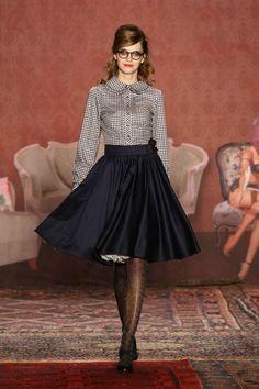 """Flirty Skirt + Black White Gingham Blouse #retro style | Lena Hoschek #fashion"""