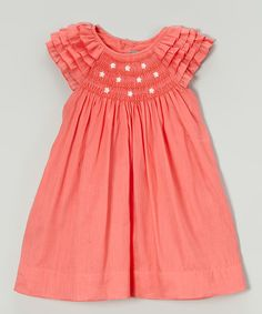 Les Petits Soleils by Fantaisie Kids Orange Daisy Smocked Angel-Sleeve Dress - Infant & Toddler | zulily