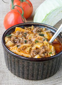 Ingredients     	2 pounds ground beef   	1/2 large cabbage, sliced   	1 (16 oz.) can marinara sauce   	5 cups low-sodium beef broth   	4 cloves garlic, minced   	1 yellow onion, finely chopped   	1/2 head cauliflower, grated or riced
