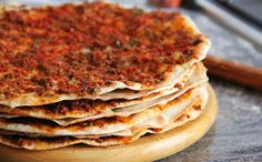 Traditional Turkish/Middle Eastern Lahmacun. A thin crust topped with a meat/vegetable mixture. Light and delicious!