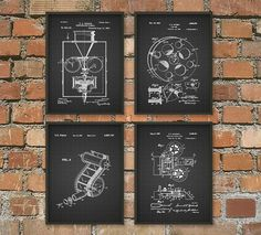 Motion Picture Camera - Edison Patent Wall Art Poster - History of Cinema Home Decor - Movie Patents Gift Idea - Giclee Art Print Set of 4