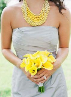 gray and yellow bridesmaid