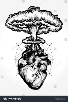 Nuclear explosion of anatomical heart t-shirt design surreal graphic. Heart and nuclear explosion tattoo art. Symbol of love, feelings, energy