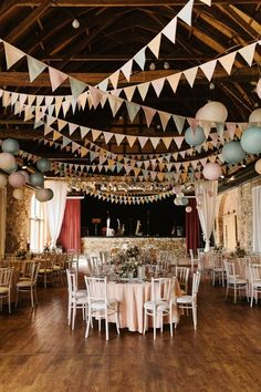 pastel barn bunting wedding decor / http://www.deerpearlflowers.com/unique-bunting-wedding-ideas/