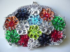 Small Pull Tab Clutch - Made with Pull Tab Crochet Flowers. $45.00, via Etsy.