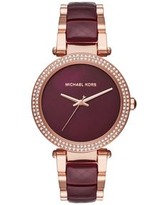 Michael Kors Watches Collection 2018 / 2019 : Michael Kors Women's Parker Rose Goldtone And Plum Acetate Three Hand Watch * Details can be found by clicking on the image. - Watches Topia - Watches: Best Lists, Trends & the Latest Styles Bijoux Michael Kors, Michael Kors Rose Gold, Michael Kors Tote, Handbags Michael Kors, Michael Kors Watch, Watches Michael Kors, Hand Watch, Michael Kors Outlet, Stylish Watches