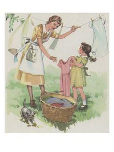 Hanging The Clothes Art par Mildred Lyon Hetherington sur AllPosters.fr