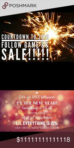 !! Flash Sale and Follow Game !! ONLY 2100 UNTIL 15% OFF EVERYTHING - 3 DAYS LEFT  LIKE this post  FOLLOW everyone that likes this post  SHARE with your followers   And check back often to update your following list!!  Please tag some PFFs to grow our Posh Community!  Let's get those followers and 15% off! Pants