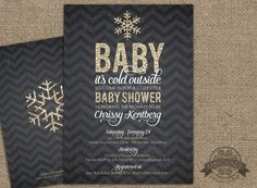 Gender Neutral Baby Shower Invitation and FREE Back Baby It's Cold Outside Chevron Glitter Gold Glitter Chalkboard Black Winter Theme Snowflake Gender Neutral Baby Shower Theme by Lemonade Design Studio