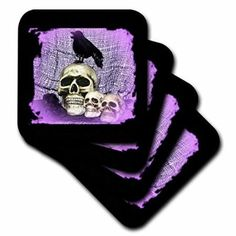 Three Skulls and Raven Skull with Raven, Ceramic Tile Coasters, set of Multicolor Agate Coasters, Marble Coasters, Ceramic Coasters, Skull Carpet, Food Storage Containers, Golden Age Of Hollywood, Ceramic Painting, Coaster Set, Accent Pieces