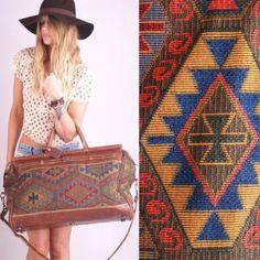 Vtg 70s SOUTHWEST NAVAJO Kilim Leather Tapestry Overnight Travel WEEKENDER BAG