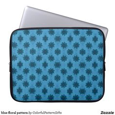 blue floral pattern laptop computer sleeve