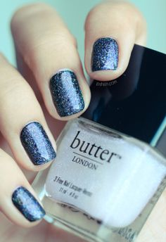 Butter London Frilly Knickers over a dark blue polish