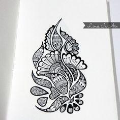 Easy Henna Mehndi Design by LinesInAir on DeviantArt Doodle Art Designs, Easy Doodle Art, Doodle Art Drawing, Zentangle Drawings, Pencil Art Drawings, Art Drawings Sketches, Lotus Drawing, Zentangles, Easy Mandala Drawing