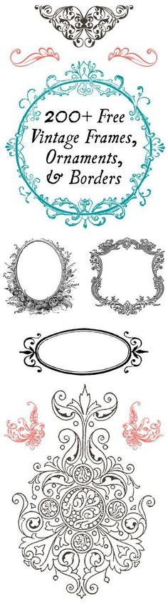 200+ FREE Vintage Frames, Ornaments, and Borders  -  Perfect for DIY projects!!
