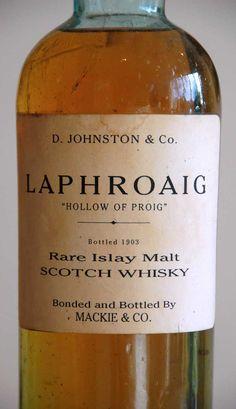 """Laphroaig 1903, Mackie & Co """"Valley of Proig"""" distillery bottling.  http://www.finestandrarest.com/images/Laphroaig-1903-Label-49KB.jpg"""