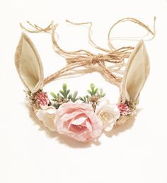 Woodland Deer Flower Crown, Photo Prop, Baby Tieback Headband, Baby Flower Crown, Newborn Headband, Girls Flower Crown, Forest Creature by masonandharlow on Etsy