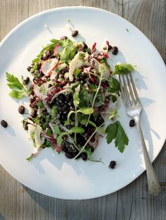 minty black bean + quinoa salad for a crowd (w/ fennel + radicchio) [My New Roots]