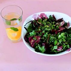 Beet green salad with fresh mint vinaigrette Green Salad Dressing, Vinaigrette Dressing, Fresh Mint, The Fresh, Infused Waters, How To Make Salad, Fresh Vegetables, Seaweed Salad, Beets