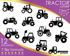 Hey, I found this really awesome Etsy listing at https://www.etsy.com/listing/503798888/12-silhouettes-tractor-tractors-vehicle