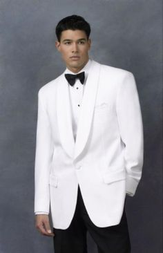 Men's Dinner Jacket in White Shawl Collar 1 Button + Free BowtieAbsolutely stunning dinner jacket in snow white color. Perfect for any formal occasion.    Fully lined jacket with one-button front closure.   Free Bow Tie.  Dry Clean Only
