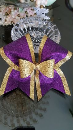 Purple/God Bow over Bow Cheer Bow by GlamourBowsByAnna on Etsy