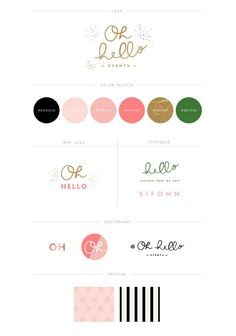 Clean layout, complimentary use of colour. Stylish, girly branding style guide.