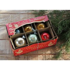 Antique Christmas Blown Glass Ornaments Set of 6 Tree Trimming Mercury... ($31) ❤ liked on Polyvore featuring home, home decor and holiday decorations