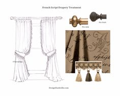 French Script Drapery Treatment. made to order draperies shipping to you. DesignNashville.com