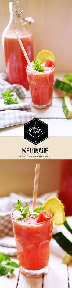 Melonen Limonade, zuckerfrei, gesund, schnelles gesundes Getränk, ideal zum Abnehmen, fruchtig frisch, laktosefrei