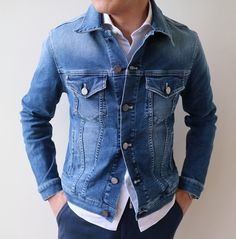 unbuttoned at the bottom, with white button up showing. Stylish Men, Men Casual, Cool Outfits, Casual Outfits, Formal Men Outfit, Mode Jeans, Denim Jacket Men, Raw Denim, Denim Fashion