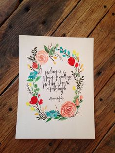 Kody Stewart Handmades  Original watercolor floral wreath (8x10) with custom quote   https://www.etsy.com/ca/shop/kodystewarthandmades