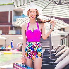 Para Mujer Floral Vendaje Alta Cintura Push Up dos piezas traje De Baño Bikini conjunto Swimwear
