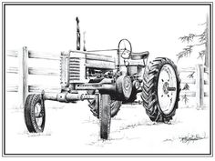 pencil tractor art | Deere Tractor Drawing by Kelly Morgan - John Deere Tractor Fine Art ...