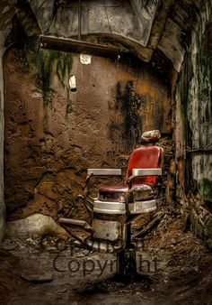 Eastern State Penitentiary Barber Chair in Philadelphia, PA 5x7 Lustre Print Fine Art Photography Landscape Prison Wall Art Gothic Decor