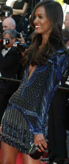 Model Liya Kebede in a Roberto Cavalli sheer mini dress| LBV ♥✤ | BeStayBeautiful