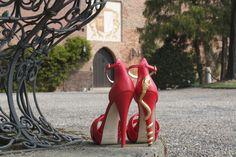 Coral red Reptilia heels, Lamperti Milano
