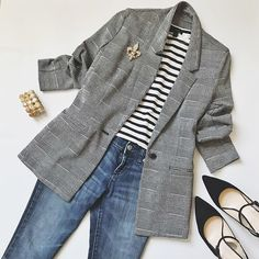 date casual outfit Work Casual, Casual Chic, Fall Winter Outfits, Winter Fashion, Mode Outfits, Fashion Outfits, Dress Outfits, Look Blazer, Grey Blazer Outfit