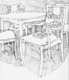 Parker dining room set, drawing by Nancy MacAlpine.  Look at wearesoarty.blogspot.com