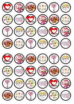 48 Mothers Day Edible PREMIUM THICKNESS SWEETENED VANILLA, Wafer Rice Paper Cupcake Toppers/Decorations