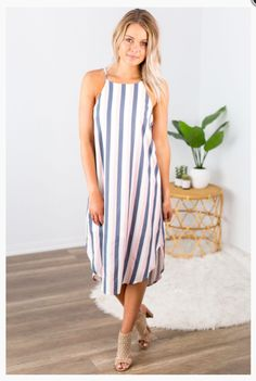"""Shop new arrivals at Beautique! Use the code """"aubree10"""" at checkout and receive 10% off your order every time you purchase!  #summerfashion #summer #womensfashion #stripes #gray #pink #shopsmall #mididress Trendy Fashion, Pink Stripes, Pink Grey, Summer Dresses, Denim, Pink Streaks, Summer Sundresses, Trending Fashion, Summer Outfit"""