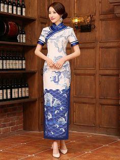 Blue Dragon Ankle-Length Qipao / Cheongsam Party Dress