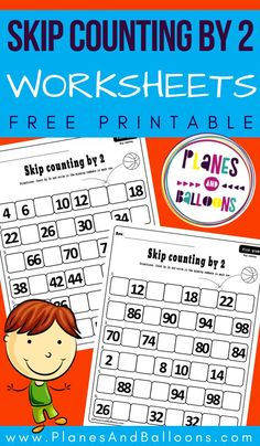 Skip counting by 2 worksheets for grade 1 - free printable first grade math activities. #firstgrade #math #planesandballoons First Grade Math Worksheets, Sight Word Worksheets, Fun Worksheets, Free Printable Worksheets, Kindergarten Worksheets, In Kindergarten, Printables, Skip Counting Activities, Skip Counting By 2