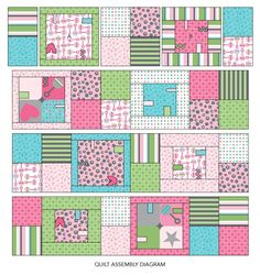 Add fun and fuction to a stroller-size quilt by sewing ribbon and rickrack  loops into the blocks.