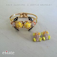 Frog earrings and Beetle bracelet ON SALE for $10!!! http://estate-west-grand.myshopify.com/products/frog-earrings-and-beetle-bracelet