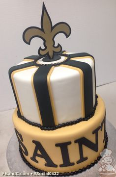 Social0432 | New Orleans Saints Cake | Fondant Cover with Fondant Embellishments.   Laser Cut Fleur de Lis Beautiful Cakes, Amazing Cakes, 13th Birthday, Birthday Cake, Football Cake Pops, Cupcake Cookies, Cupcakes, Cool Cake Designs, Cake Fondant