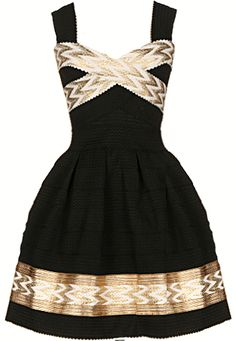 Next Big Thing Dress: Features wide, durable straps bordered with sweet scalloped trim, luminous white and gold chevron print highlighters, retro A-line bandage skirt for a ladylike touch, and an exposed rear zip closure to finish.
